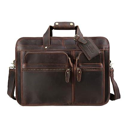 8c071f3624bd Amazon.com: BAIGIO Men's Vintage Full Grain Cowhide Leather ...
