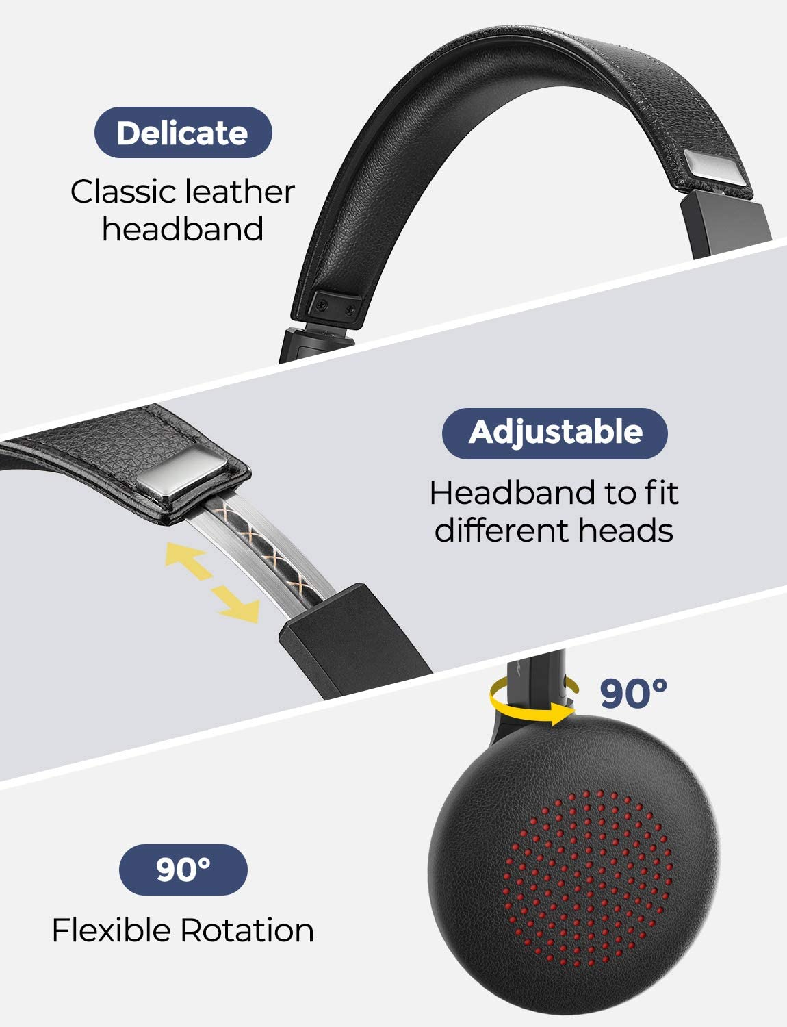 Mpow Bluetooth Headset V5.0 with Dual Microphone, Wireless PC Headphones,CVC8.0 Noise Canceling, On Ear for Computer,Cell Phone, Call Center, Office, Skype, 22 H Talk Time,Soft Earpad(Wired Optional): Electronics