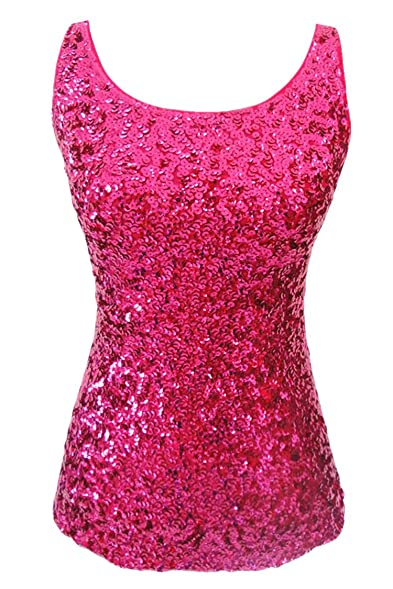 Amazon.com: Cutiefox Women's Sequin Sparkle Tank Top Vest Tops ...