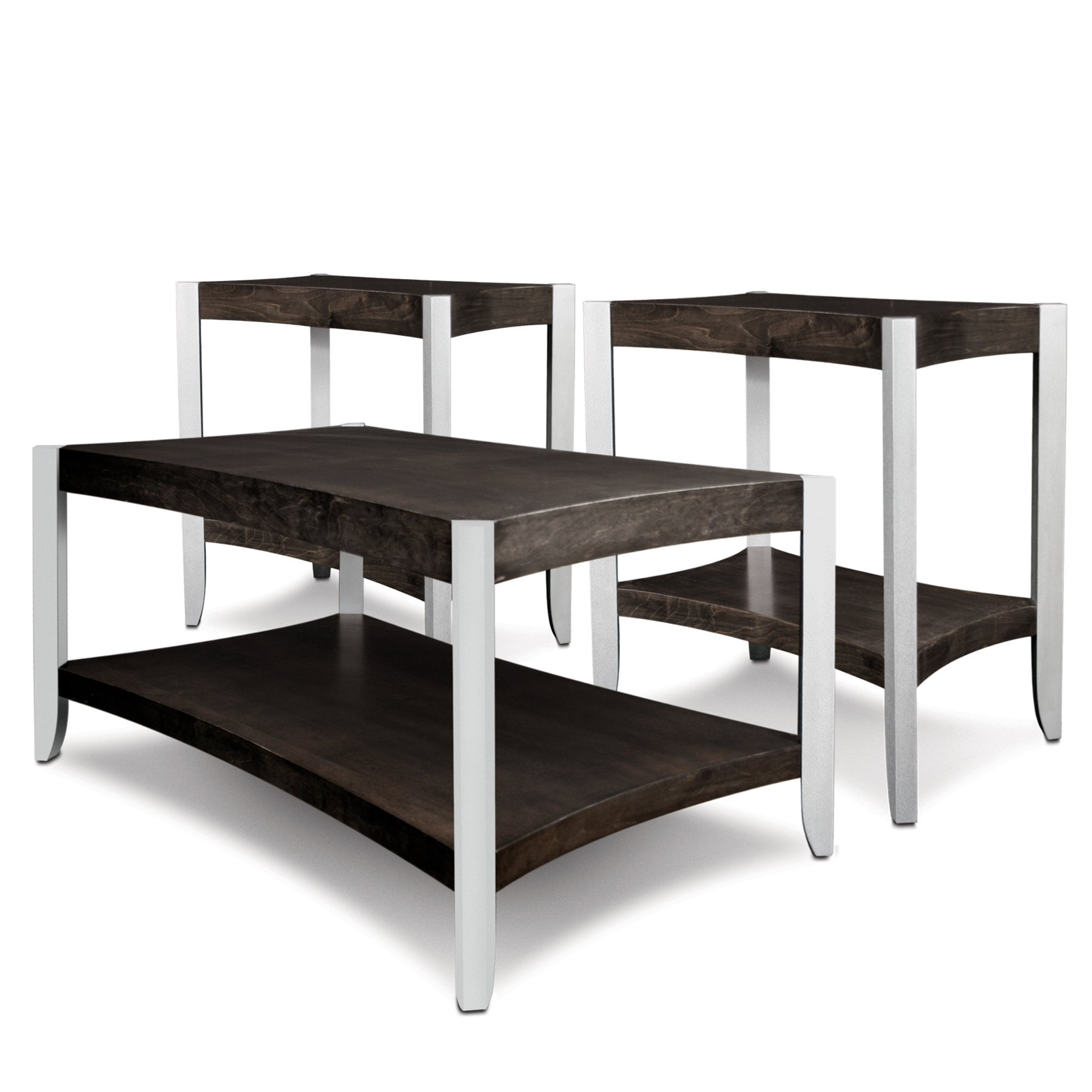 Leick Aluminum Condo/Apartment Coffee Table & Two End Tables (3 Pack), Smoky Onyx & Faux