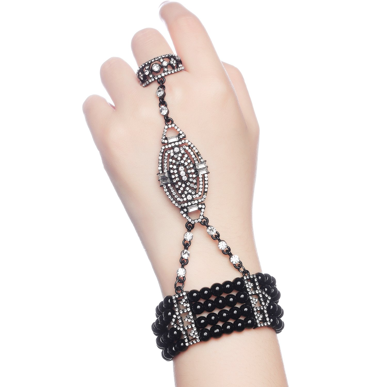 BABEYOND 1920s Flapper Bracelet Ring Set Austrian Crystals Imitation Pearl (black) by BABEYOND