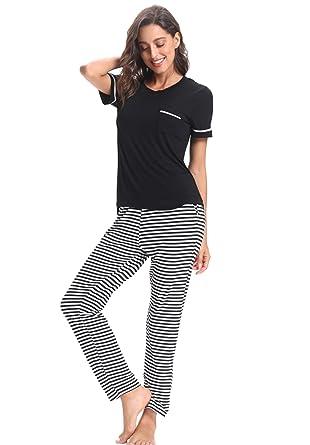 huge selection of 89340 6ff1f Dreamlove Damen Pyjama Set Modal Schlafanzug Nachtwäsche Zweiteiliger  Hausanzug Nachthemd V Ausschnitt Mit Hose & Shirt Sleepwear S-XL