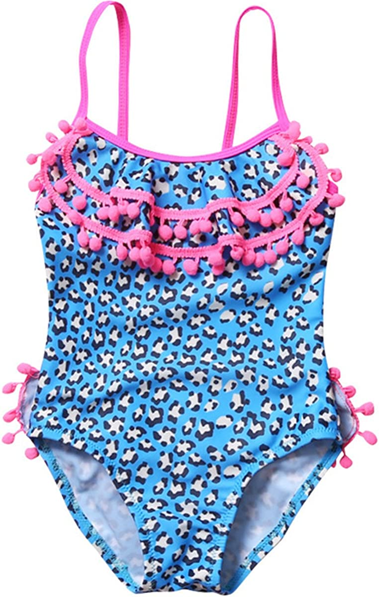 REWANGOING Baby Kids Girls One Pieces Sleeveless Tassel Leopard Swimwear Swimsuit Bathing Suits