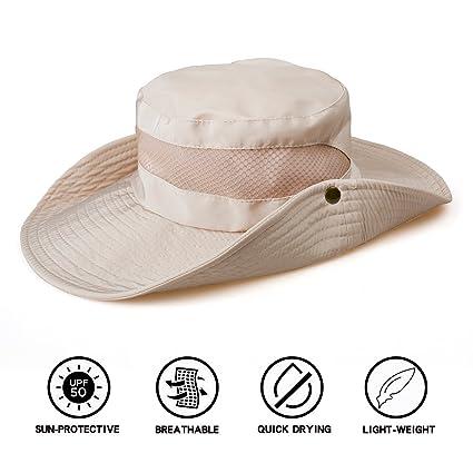 3b09c9d927b TAMINGTON Outdoor Boonie Sun Hat Wide Brim Breathable Solar Protection UPF  50+ Sun Cap Fishing