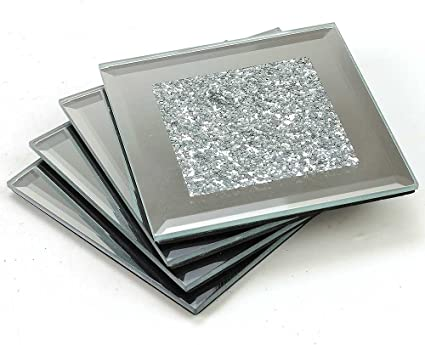 Angraves Lustre Large Silver Sparkle Glitter Mirrored Glass Coaster Set Of 4 Amazon Co Uk Kitchen Home