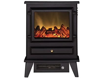 Adam Hudson Electric Stove in Black with Angled Stove Pipe