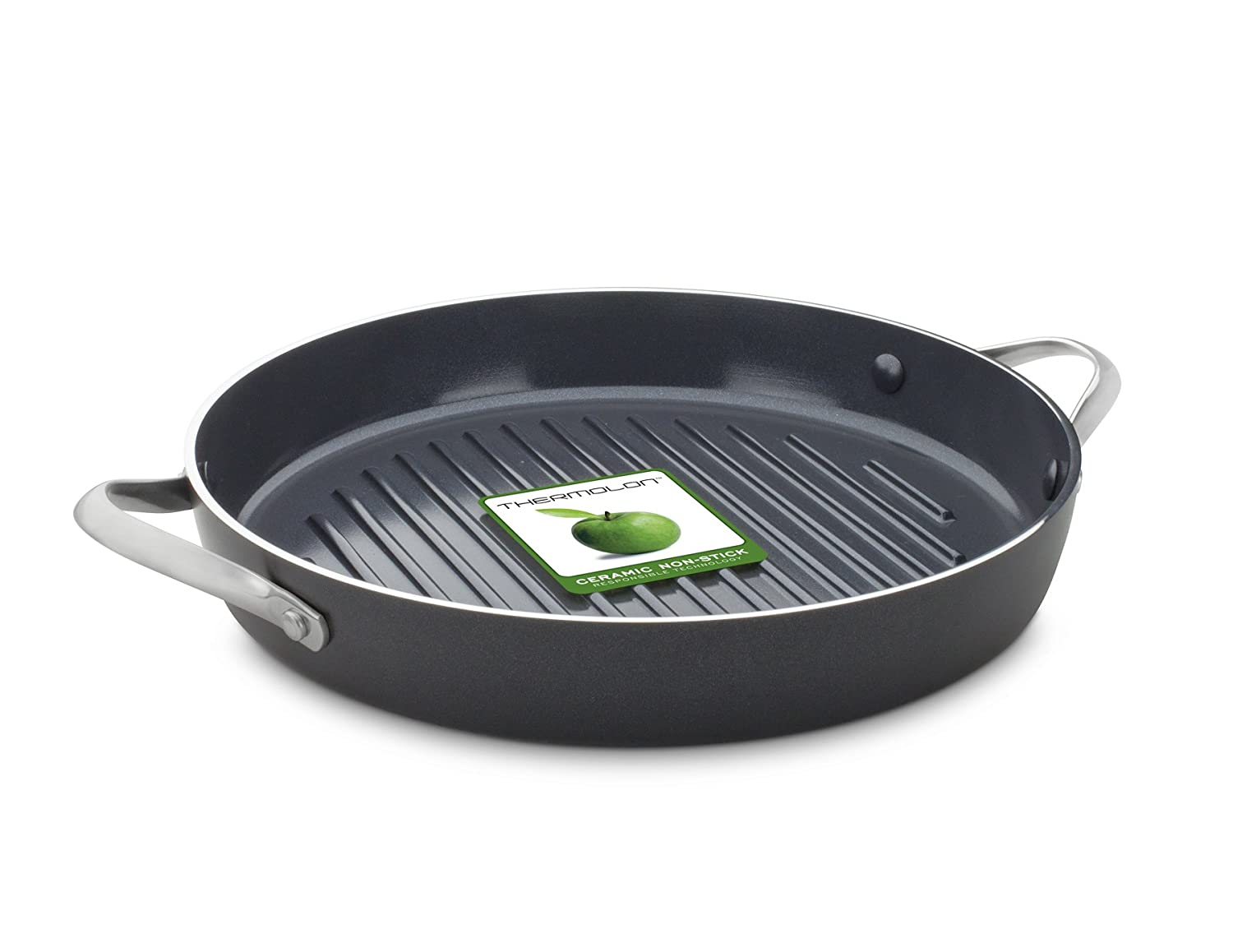 GreenChef Essentials Keramik Rund Grill, antihaftbeschichtet, Schwarz, 28 cm 28 cm The Cookware Company CC000381-001