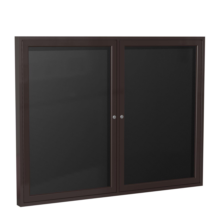Ghent 36'' x 48'' 2-Door Outdoor  Enclosed Vinyl Letter Board, Black, Bronze Aluminum Frame (PB23648BX-BK)