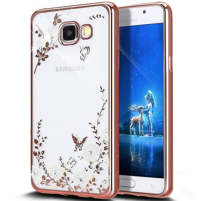 1 opinioni per Cover Galaxy A3 2016,ikasus Placcatura Lucido scintillio strass Diamante fiore