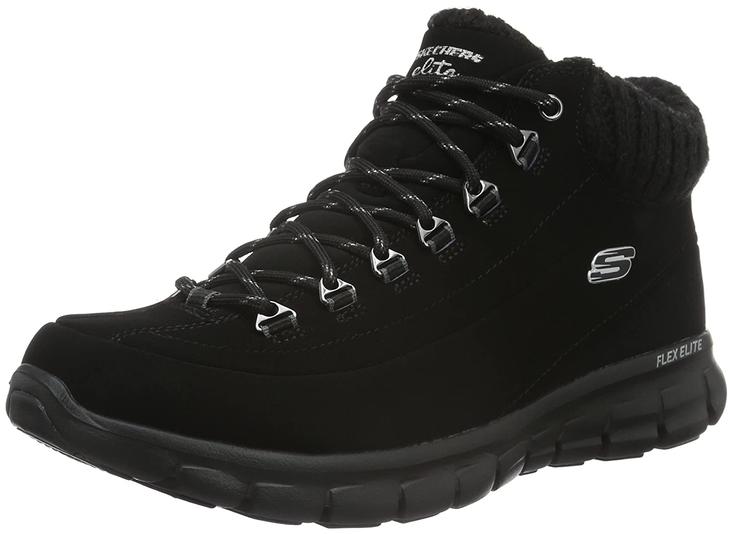 Skechers Damen Synergy Winter Nights Kurzschaft Stiefel  39 EU|Schwarz (Bbk)
