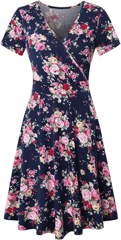 EMVANV Womens Deep V Neck Short Sleeve Floral Cross Wrap Dress for Work Casual Cocktail Dresses