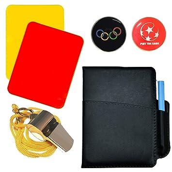 SANTOO Fu/ßball Schiedsrichter Karten Sport Schiedsrichter Set Edelstahl Pfeifen mit Tasche W/ählmarke Trainer Gelbe Karte Rote Karte f/ür Fu/ßballspiel
