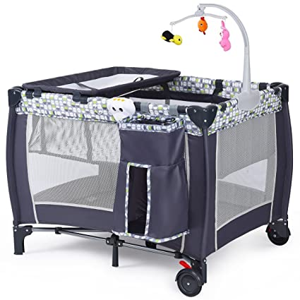 Amazon.com: Imtinanz Modern Style Fold-able Travel Baby Crib ...