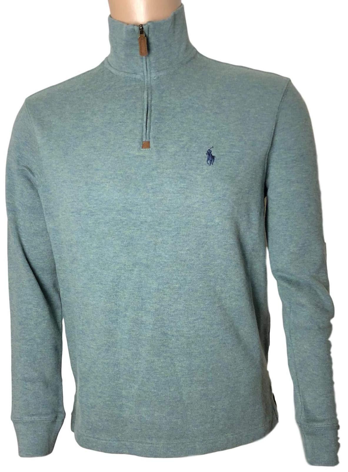 Polo Ralph Lauren Mens Half Zip French Rib Cotton Sweater (X-Large, Green/Navy Pony)