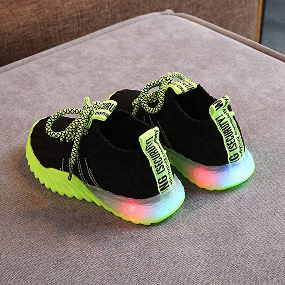 Toddler//Little Kid Kids LED Slip on Sneakers Light Up Flashing Sneakers Girls Boys Knit Comfortable Fashion Walking Shoes