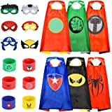 Superhero Capes and Mask for Kids, Kids Capes with Wristband (6 Pcs)