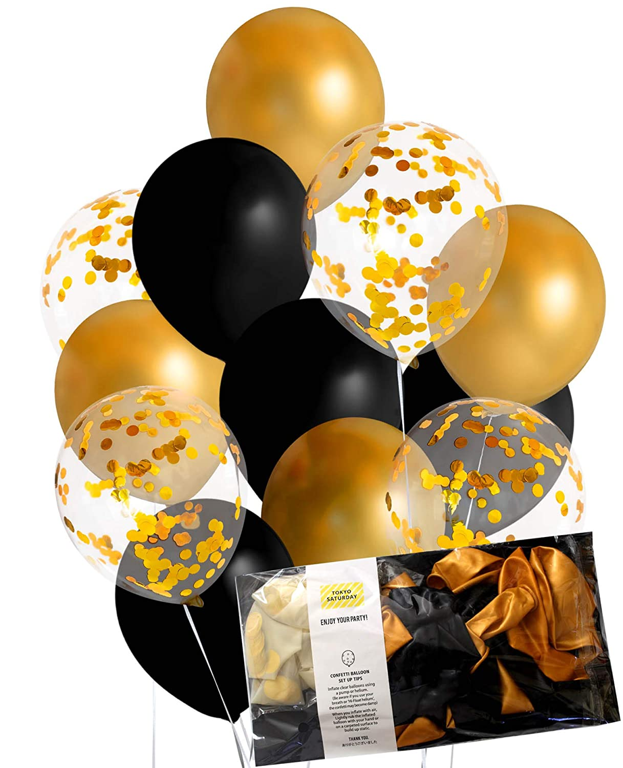 TOKYO SATURDAY Shiny Finish Gold And Black Confetti Balloon Party Decoration 20pcs 12 Clear Balloons With For Wedding Birthday Construction