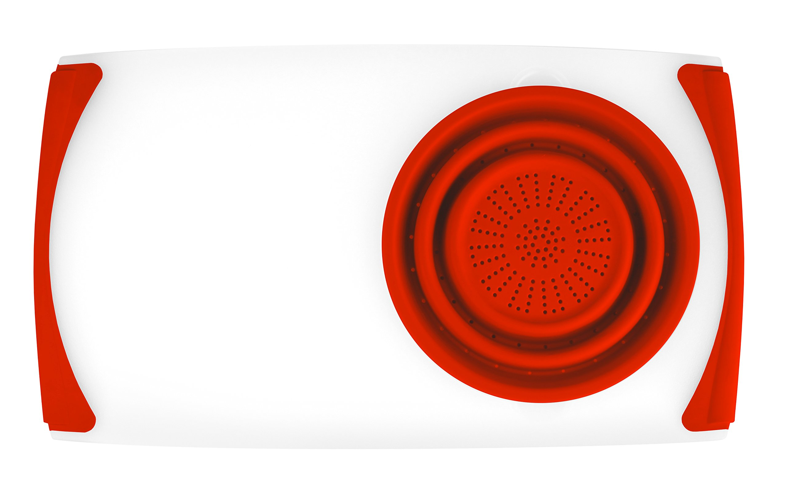 Dexas Over the Sink Strainer Board, 11.5 x 20'', Natural/Red