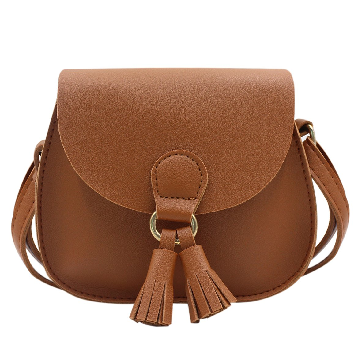 Amamcy PU Leather Shoulder Bag Coin Purse with Tassel Mini Crossbody Satchel Handbags for Kids Girls and Woman