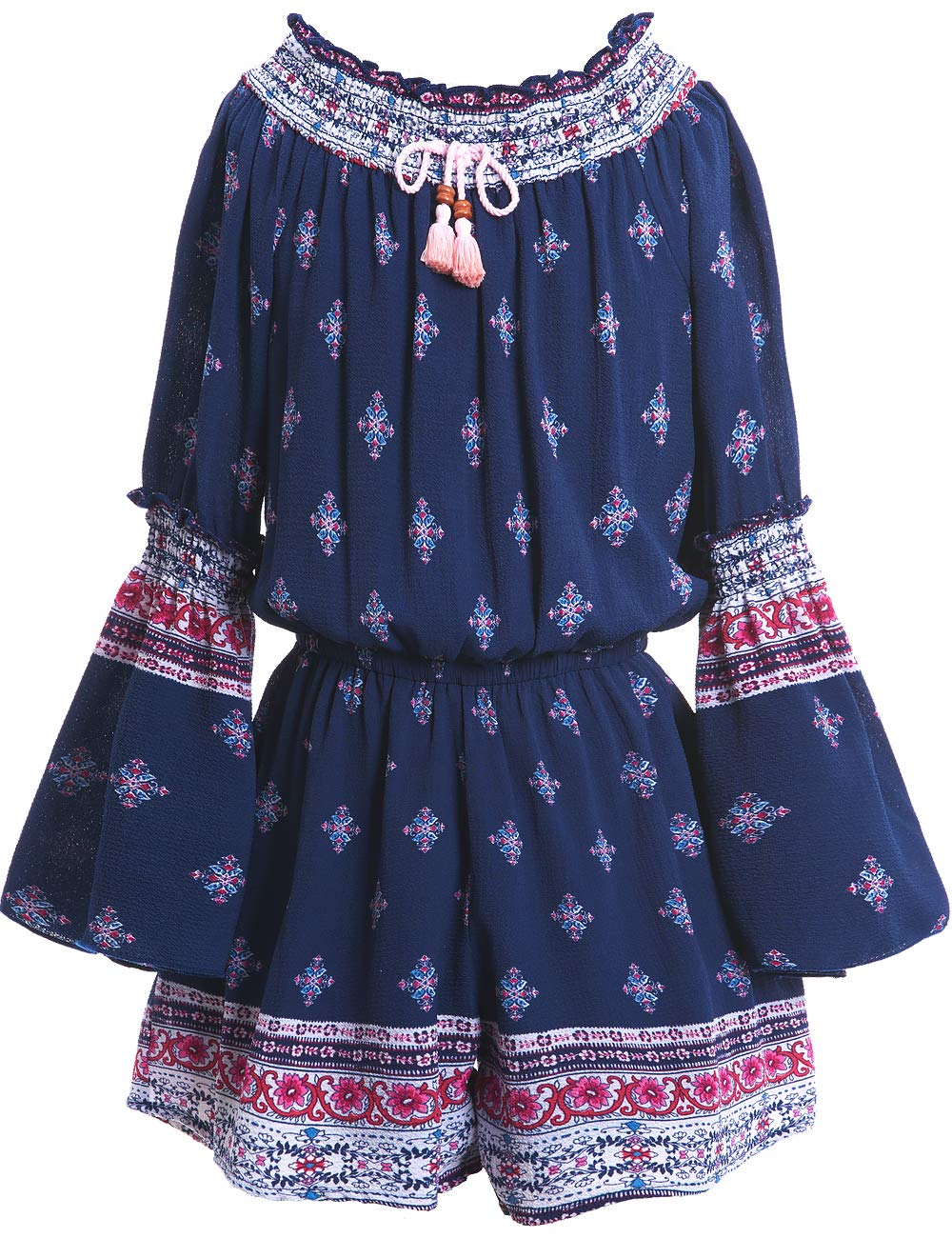 Truly Me Big Girls Tassel & Smocking, Bohemian Border Print Crinkle One Piece Romper with Long Sleeve and Lining by Truly Me