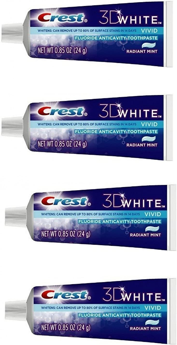 Crest 3D White Vivid Fluoride Anticavity Toothpaste Radiant Mint 0.85 oz Travel Size (Pack of 4)
