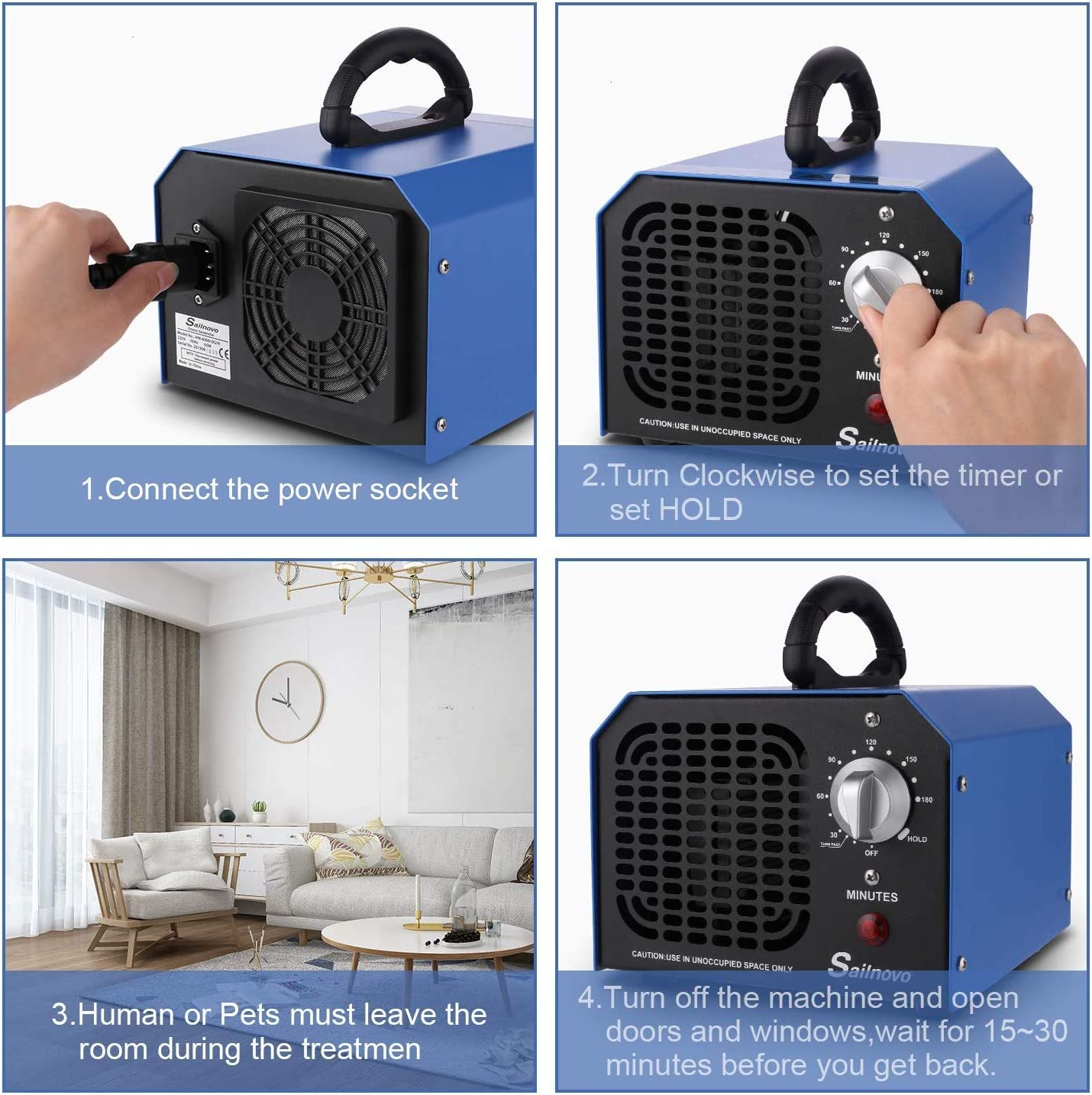 Purificatore dAria Ozono con Timer di 3 Ore Sailnovo Generatore di Ozono 6000mg // Ora Sterilizzatore a Ozono Disinfezione Dispositivo Ozono per Camera//Auto//Animali Domestici 6G