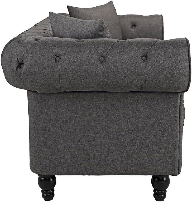 Dark Grey Divano Roma Furniture Classic Linen Fabric Scroll Arm Tufted Button Chesterfield Style Sofa