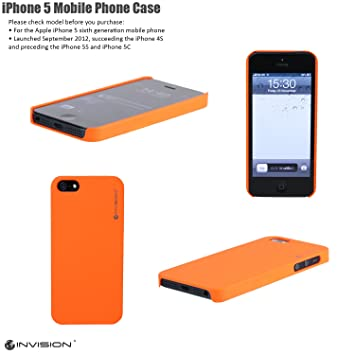 4858651bf57 Invision iPhone 5 Ultra Slim Mobile Phone Case Cover Hard Shell by (Orange  IP-