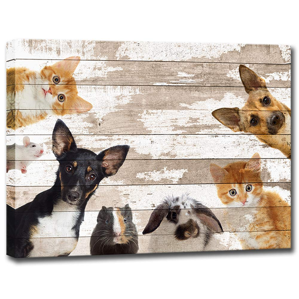 01a16cea5 Cute Animals Canvas Wall Art Vintage Dog Cat Mouse Rabbit Hamster Wall  Painting Print Canvas Framed Modern Home Decor Animal Prints for Baby Room  Kids Room ...
