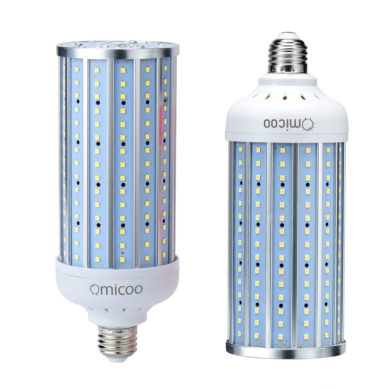 Omicoo 2 Pack 50 Watt LED Corn Bulb,350 Watt Equivalent 3000 Lumen 6500K 230 LED Beads Super Bright Daylight White E26/E27 Base,Energy-Saving Light Bulbs for Garage Factory Warehouse High Bay Barn
