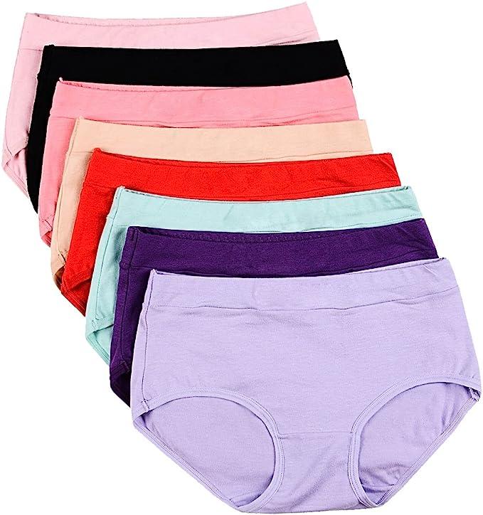 Ladies 5 Pack High Leg Cotton Stretch Briefs Knickers Underwear Size 10 12 14 16
