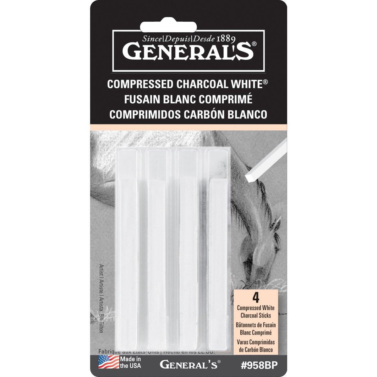 2-Pack - General Pencil Compressed Charcoal Sticks 4/pkg - White - Soft Assorted (GP958-BP)