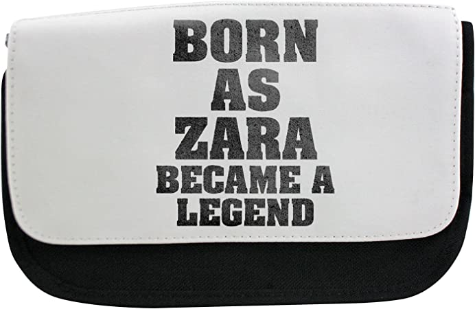 "Bolso con ""Born as Zara, became a legend"", estuche, neceser de maquillaje: Amazon.es: Hogar"
