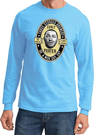 02984a79 Buy Cool Shirts Three Stooges Tee Curly Porter Long Sleeve, Aquatic Blue,  Small