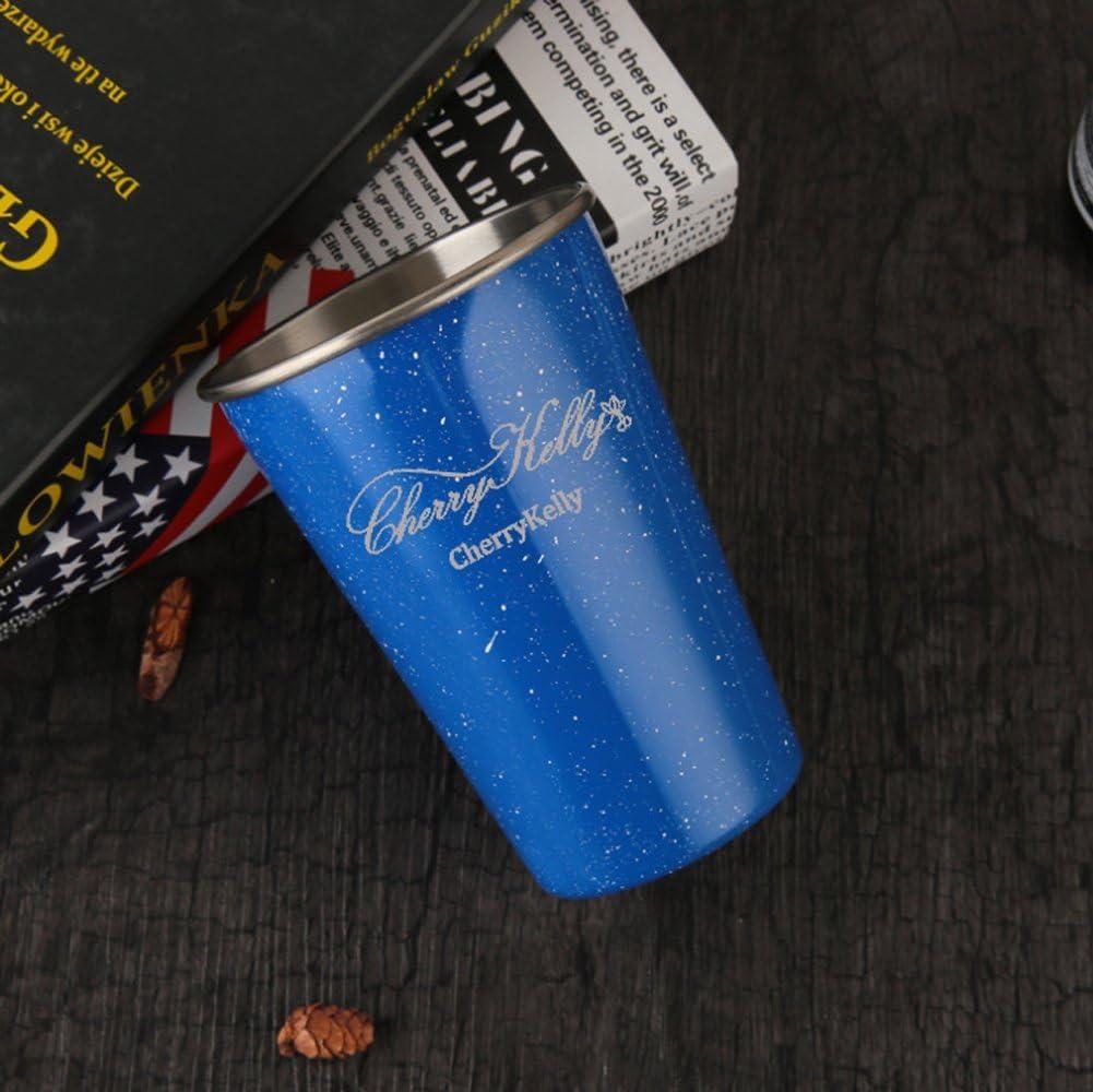 Bleu-Rouge*2 Lot de 4 500ml // 17oz sans BPA - CherryKelly Verres /à Boire Partie Mugs en M/étal R/éutilisables Ensemble de Tasses en Acier Inoxydable de Rev/êtement Camping Ext/érieur