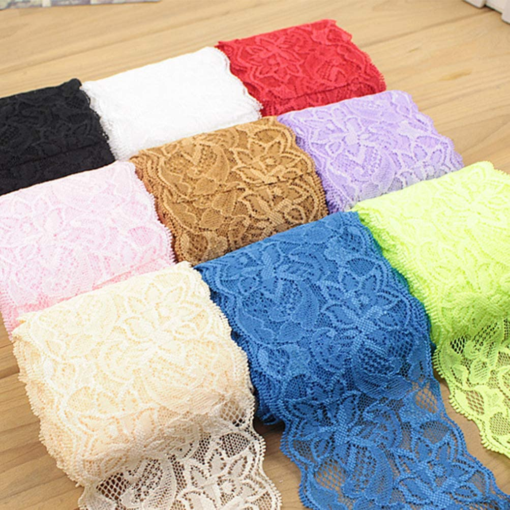 Red Exceart 1 Roll of Elastic Lace Trim Floral Wide Mesh Sewing Making Ribbon Fabric DIY Clothes Accessories for Gift Wrapping Bow Making