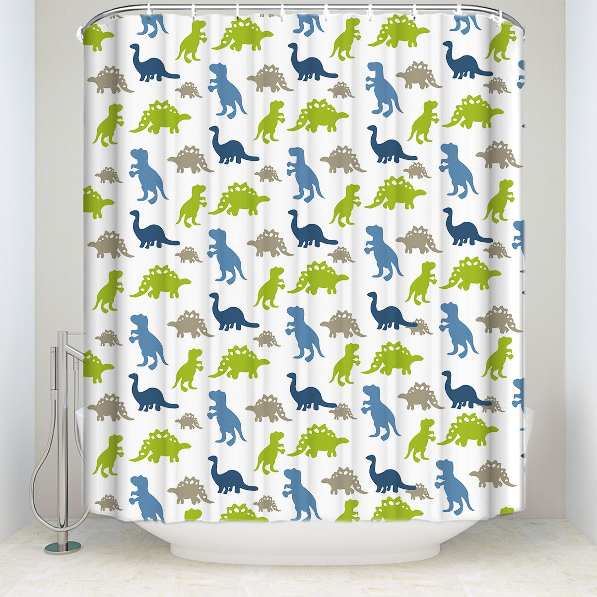 Z&L Home Dinosaurs Shower Curtain Sets Collection of Various Funny Dinosaurs Design Bathroom Decorations Polyester Fabric Childrens/Kids/Teens/Students/Girls/Boys 54x78Inches