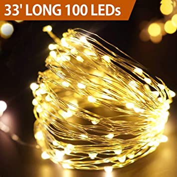 Bright Zeal 33' Long LED Warm White Christmas String Lights White Wire Battery  Operated - - Amazon.com : Bright Zeal 33' Long LED Warm White Christmas String