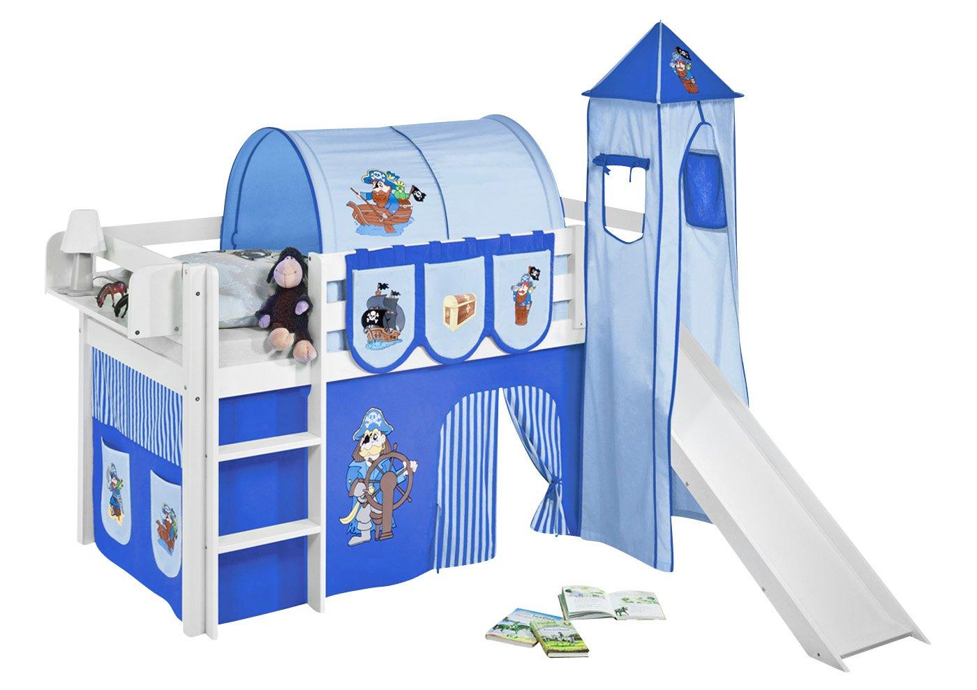 Cool Lilokids Spielbett JELLE Pirat Blau - Hochbett - weiß - mit Turm  EH39