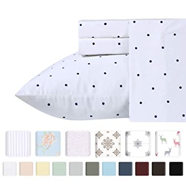 400 Thread Count 100% Cotton Sheets in Navy Dot Printed Queen Size Set, 4-Piece Long-staple Combed Cotton Best Quality Sheets For Bed, Breathable, Sateen Weave Fits Mattress Upto 18'' Deep Pocket