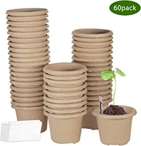 ZOUTOG Seed Starter Trays, 4 Inch Round Biodegradable Peat Pots, for Your Garden, Greenhouse or Nursery, 60 Packs, Bonus 60 Plant Labels
