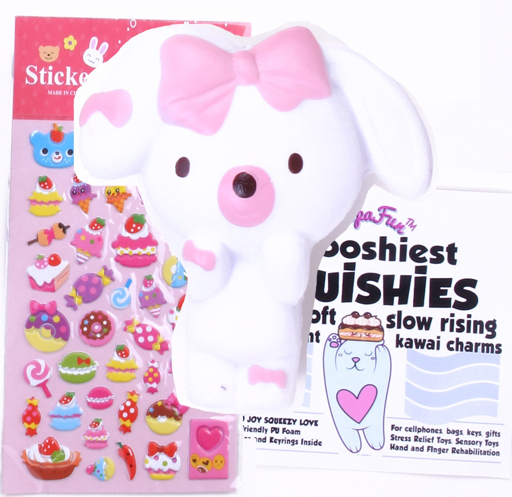 Felix and Wise - ShopaFun Puppy Dog Soft Creamy Scented Squishy Kawaii / Slow Rising Stress Relief Squeeze Toy / Bonus Puffy Stickers