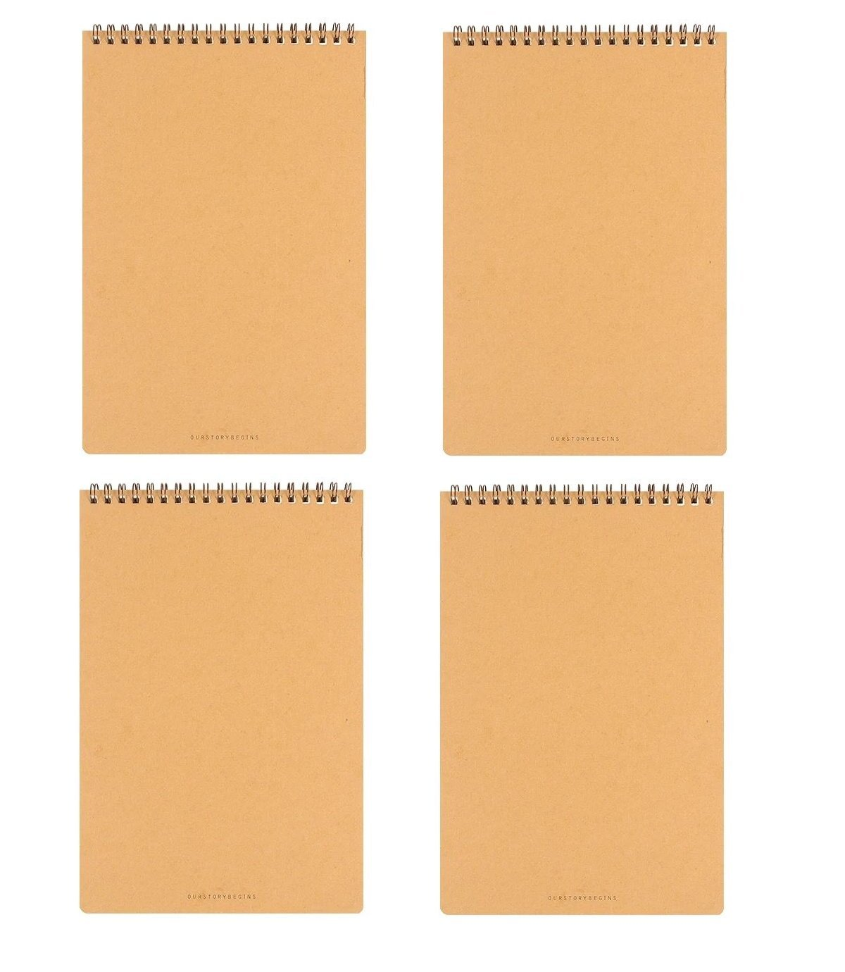 Chris.W Spiral Steno Notebook Writing Pads for Journalists, Reporters and Interpreters - Set of 4 Books - 5.5 x 8.25 Inch - Ruled(Kraft Cover)