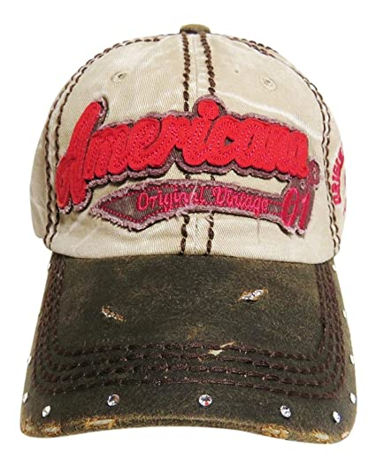 9fde712052ded Americana Vintage Washed Out Look Baseball Cap w Crystals on Bill Hat  Headwear Patriotic (