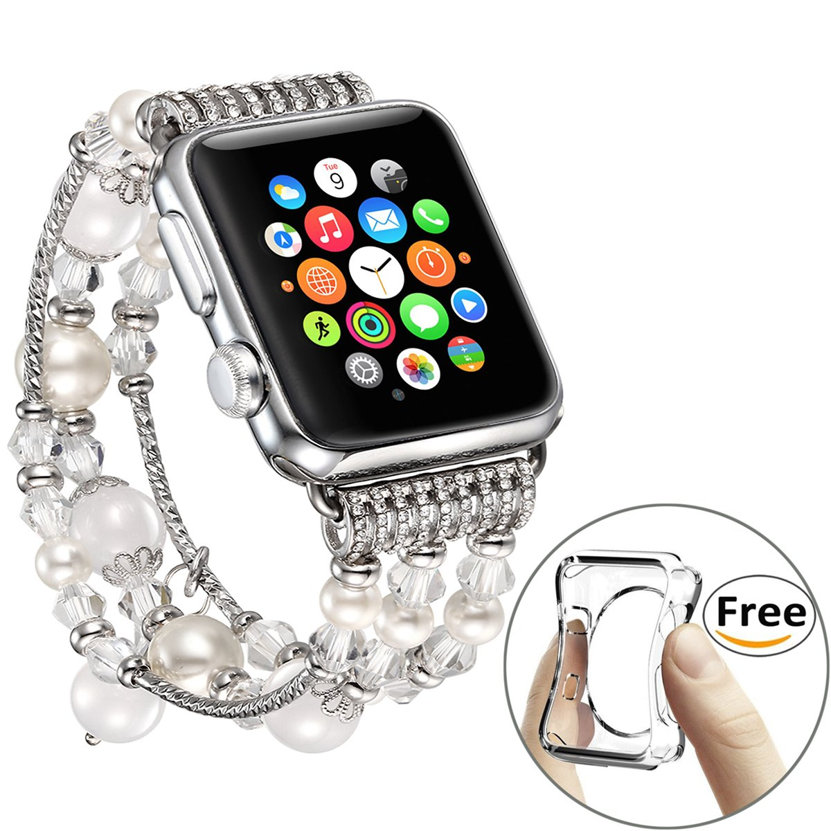 Fastgo for Band for Apple Watch 42mm, Bling White Beaded Faux Agate Bracelet Replacement iWatch Strap Women for Apple Watch Series 1 Series 2 Series 3 (White - 42mm)