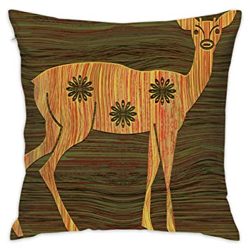 Brilliant Amazon Com Eante Throw Pillow Cover Wood Grain Young Deer Inzonedesignstudio Interior Chair Design Inzonedesignstudiocom