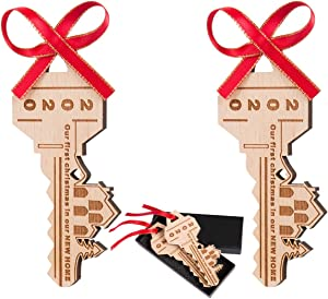 2 Pcs Our First Christmas in Our New Home Wooden Key with Gift Box and Gold Ribbons- 2020 Wood Christmas Ornament Our First Home Key for Housewarming Holiday Decoration(House)