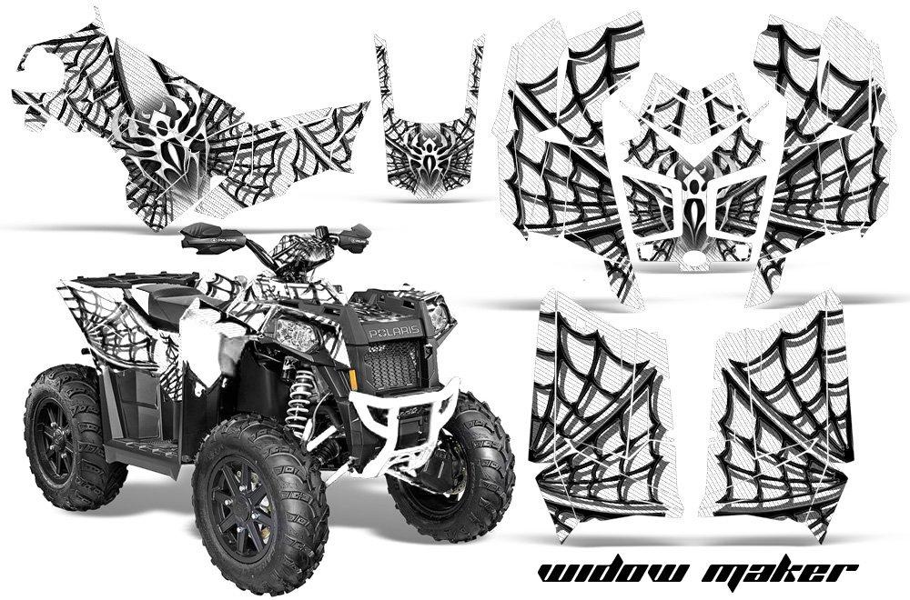 AMR Racing Graphicsキットfor ATV Polaris Scrambler 850 2013 – 2016 Widow Makerブラックホワイト   B079B25YZH