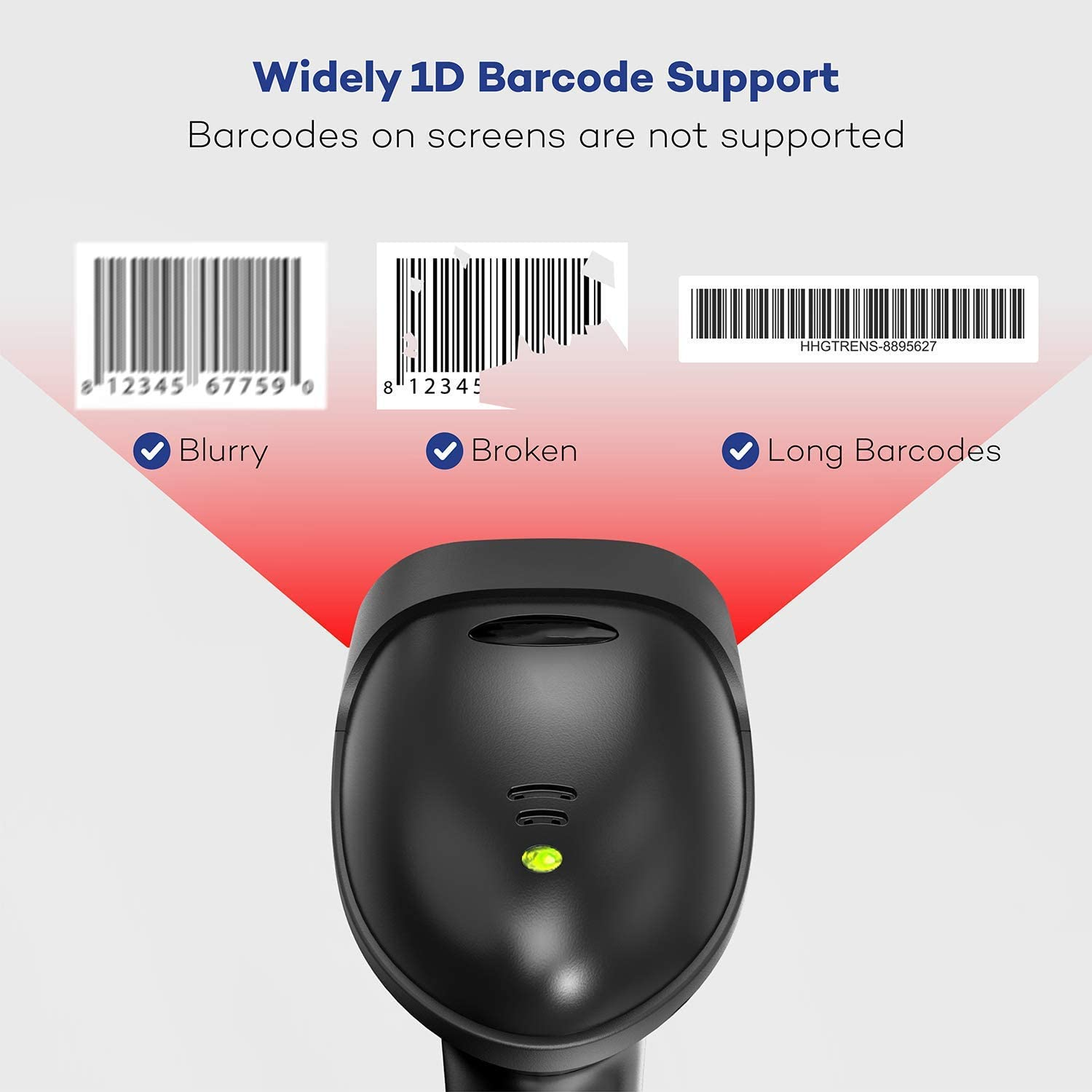 Fast Auto Scan Support Windows//Mac Os//Android System 2020 Barcode Scanner with Stand Wired USB Handheld Bar Code Scanner for Computer Work Excel and Other Software