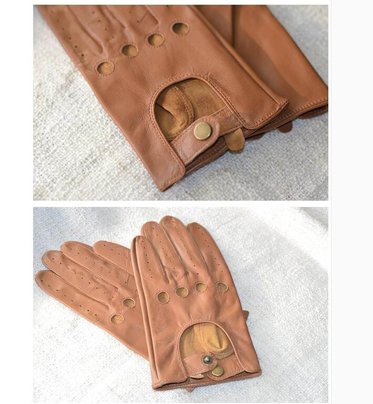 HOMEE Men'S Leather Drives Gloves Thin Repair Design Leakage Four Seasons Available,Brown,Medium by HOMEE (Image #4)